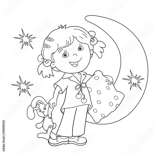 Coloring Page Outline Of Cartoon Girl In Pajamas With Pillow Buy