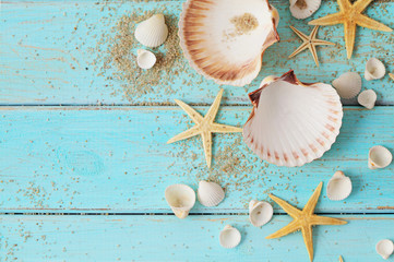 Panel Szklany Marynistyczny seashells frame background on wooden board