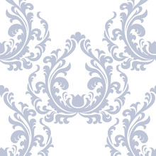Vintage Floral Ornament Damask Pattern. Elegant Luxury Texture For Texture, Fabric, Wallpapers, Backgrounds And Invitation Cards. Pastel Blue Color. Vector