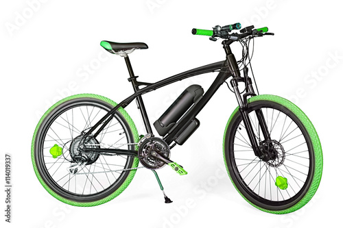 Foto  Black and green electric bike