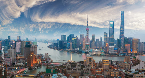 Photo  Aerial photography at Shanghai bund Skyline of twilight