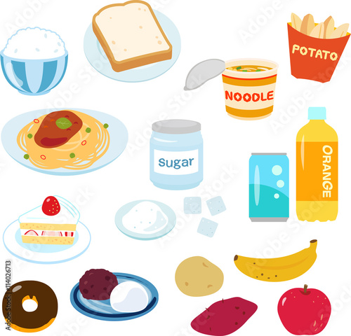 Fotografía  糖質の多い食べ物のイラストセット