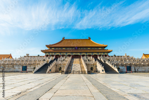 In de dag Peking Hall of Supreme Harmony, Forbidden City in Beijing, China