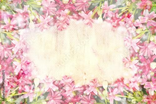 Pink Flower Border And Frame In Vintage Color For Valentine