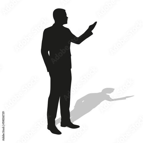 Businessman Presentation. Vector Silhouette. Standing