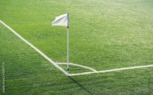 Fotografie, Obraz  close up of football field corner with flag marker