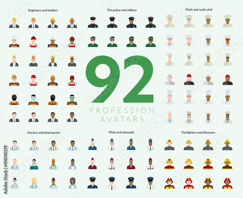 Fotografía  Set of 92 flat profession avatars