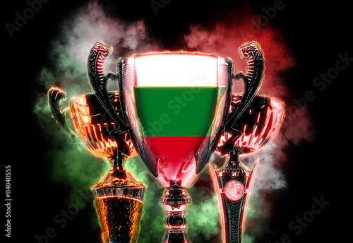 Fotografie, Obraz  Trophy cup textured with flag of Bulgaria. Digital illustration