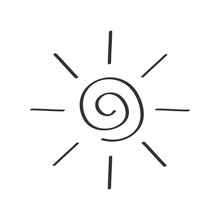 Spiral Sun Shining Sign Symbol. Swirl Shape. Thin Line Icon. Hello Summer. Flat Design. Black Color. Isolated. White Background.