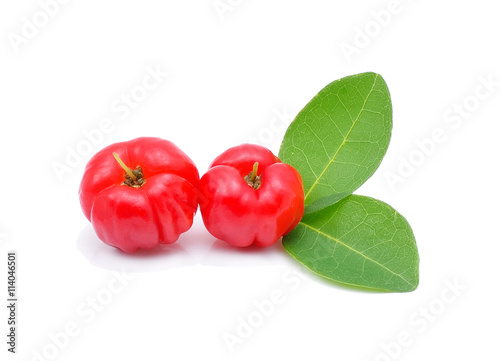 Barbados cherry,Ripe thai cherry on white background