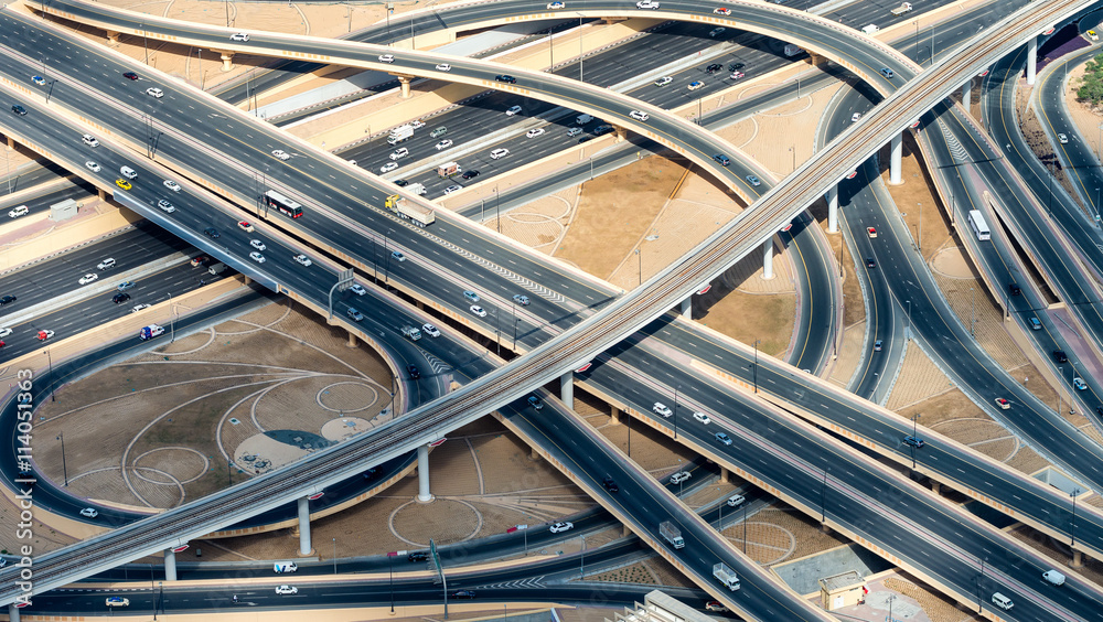Fototapety, obrazy: Major roads intersection, aerial view