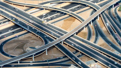 Skrzyżowanie głównych dróg, widok z lotu ptaka