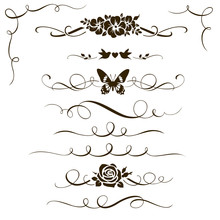 Set Of Decorative Floral Elements. Calligraphic Dividers, Flowers And Ornamental Silhouettes For Your Design.