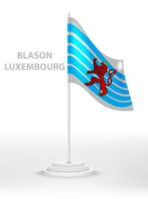 National Waving Flag Of Blason Luxembourg On A Pole. Vector 3d Country National Symbol On A White Background
