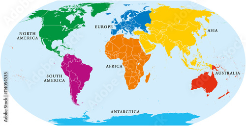 Seven continents world map asia africa north and south america seven continents world map asia africa north and south america antarctica gumiabroncs Images