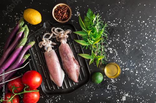Fotografie, Obraz  Kalamáry sulla piastra pronti per essere cucinati