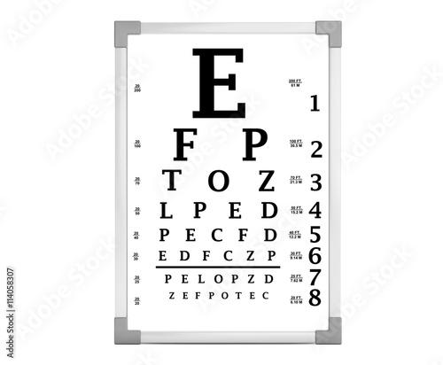 Snellen Eye Chart Test Box 3d Rendering Buy This Stock