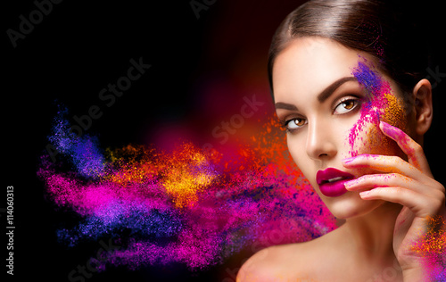 Beauty woman with bright color makeup Canvas Print