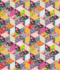 Fototapeta Colorful seamless patchwork pattern. Quilt from different patches with polka dot, flowers, leaves and cups with tea.