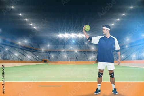 Plakat Złożony wizerunek pozuje z piłką sportowiec