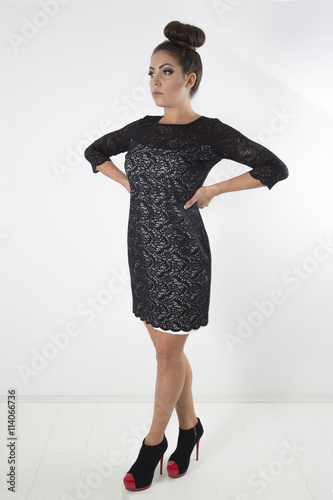 Beautiful Woman With Hair Bun Wearing Black White Lace Dress