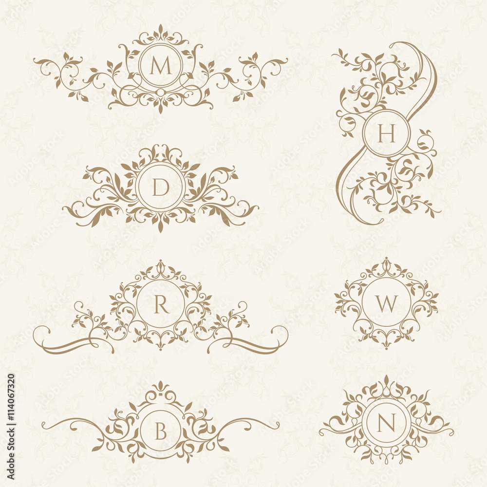 Fototapety, obrazy: Monograms collection for cards, invitations. Graphic design page.