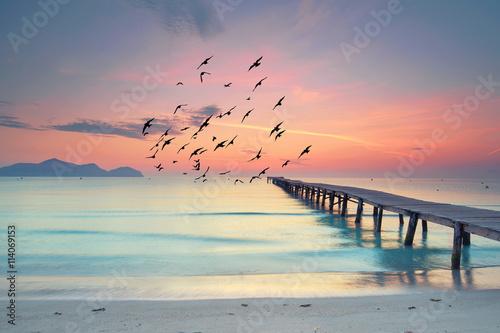Fotografie, Obraz  Ruhe und Stille am Morgen am Strand
