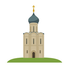 Beautiful Old Church On The Hill. White Church With Blue Roof And Golden Cross. Vector Flat Illustration.