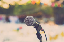 Microphone On Outdoor Stage. V...