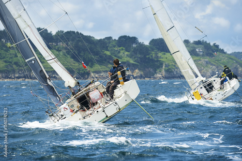 Recess Fitting Sailing group yacht at race