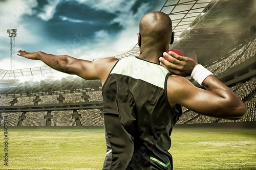 plakat Composite image of rear view sportsman practising shot put