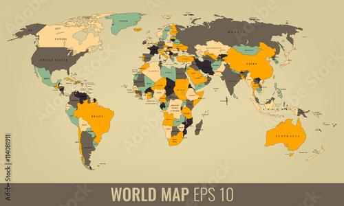 Plakat Mapa świata o wysokiej szczegółowości. Wektor