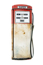 Old And Rusty Red Fuel Pump Isolated On White Background