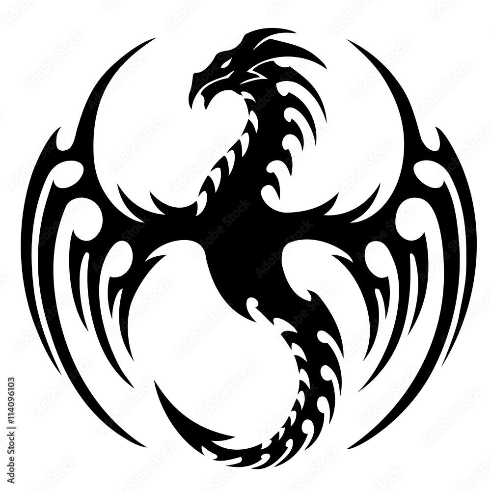Fototapeta vector illustration, tribal dragon tattoo design, black and white graphics.