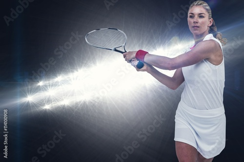 Plakát  Composite image of athlete playing tennis with a racket