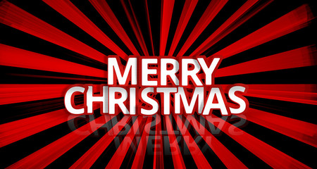 bold font merry christmas 3d render red rays