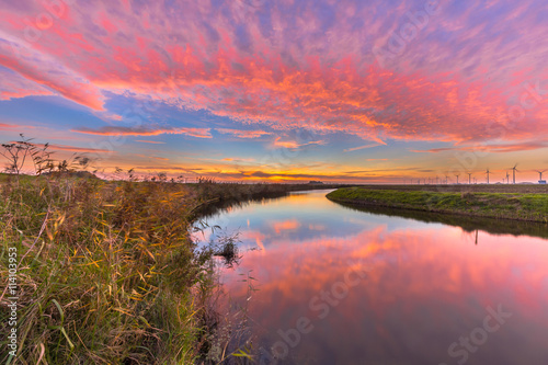 Aluminium Prints Candy pink Dutch river sunset in bright colors