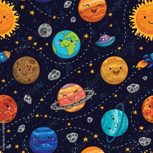 Cotton fabric Seamless space pattern background with planets, stars and comets.