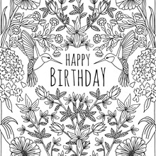 Hand Drawn Birthday Card Design With Humming Birds And Flowers