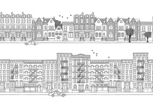 Two Hand Drawn Seamless City B...