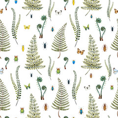 FototapetaWatercolor fern pattern