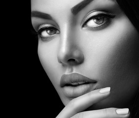 Beauty fashion black and white woman's portrait with perfect makeup and nails
