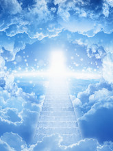 Stairs To Heaven, Bright Light From Heaven, Stairway Leading Up To Skies, Bright Light From Heaven Door