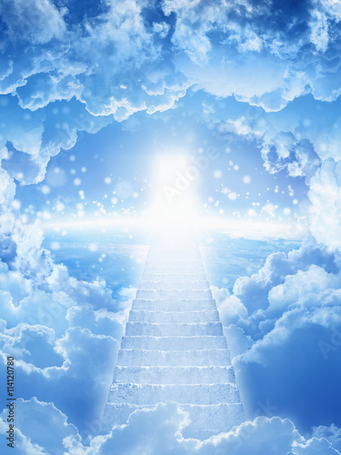 Fotografie, Obraz  stairs to heaven, bright light from heaven, stairway leading up to skies, bright