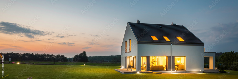 Fototapety, obrazy: Modern house with garden at night