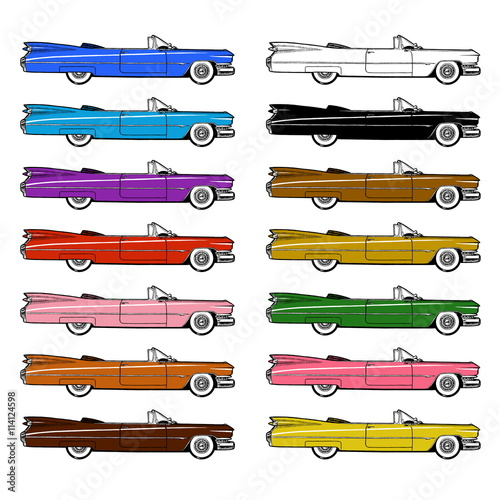 Canvas Print Classic Retro Car Set Isolated on White Background