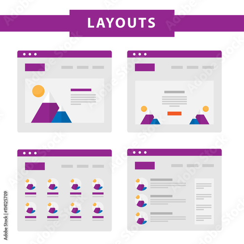 Set Of Simple Flat Website Templates Web Wireframe Vector Ux Interface Page Design Prototype Example Web Layouts Buy This Stock Vector And Explore Similar Vectors At Adobe Stock Adobe Stock