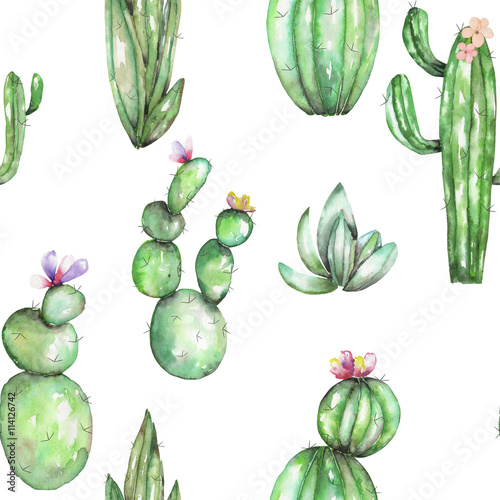 Cotton fabric A seamless pattern with the watercolor various kinds of cactuses, hand drawn on a white background