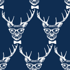 Tapeta Seamless with hand drawn dressed up deer