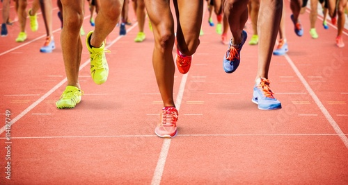Composite image of close up of sportsman legs running Принти на полотні